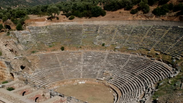 amphitheatre of nysa, aydin, turkey - amphitheatre stock videos & royalty-free footage