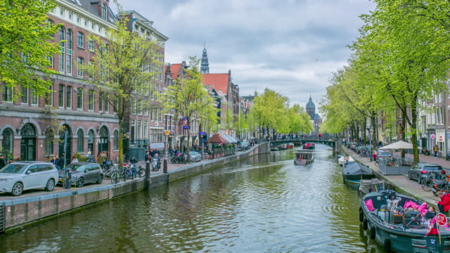 amsteram canal city landmark and historic - holland stock videos and b-roll footage