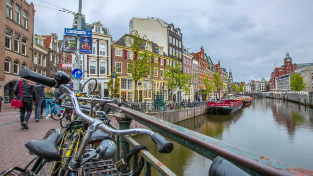 amsteram canal city landmark and historic - canal stock videos & royalty-free footage