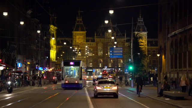 amsterdam at night, realtime - netherlands stock videos & royalty-free footage