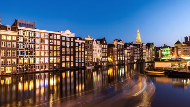 amsterdam at sunset - amsterdam stock videos & royalty-free footage