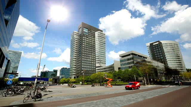 amsterdam business district zuidas - geographical locations stock videos and b-roll footage