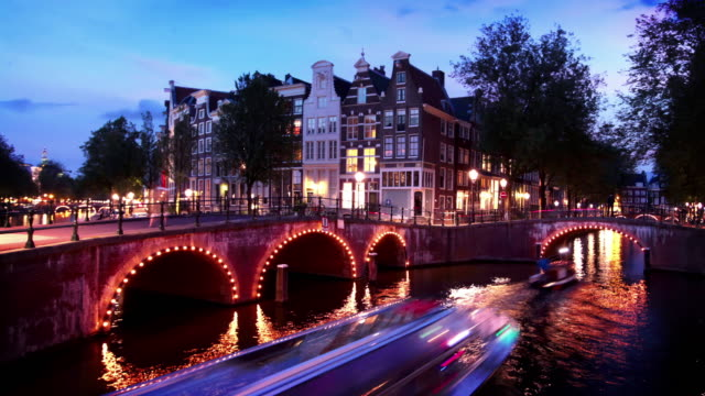 amsterdam canal - amsterdam stock videos & royalty-free footage