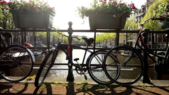 Amsterdam canal with bicycle, camera pan