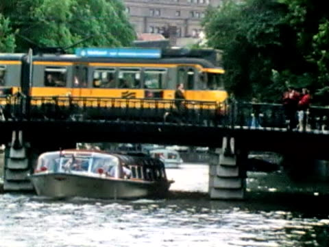 amsterdam canal with boat and train - dutch culture stock videos and b-roll footage