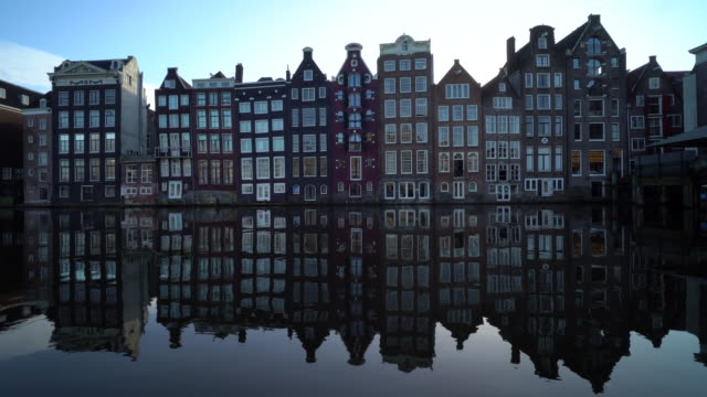 amsterdam canals with reflection - row house stock videos & royalty-free footage