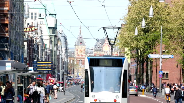 Amsterdam City with the Central Station in the background
