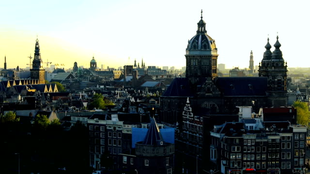 amsterdam cityscape - view over the cathedral and old town - amsterdam video stock e b–roll