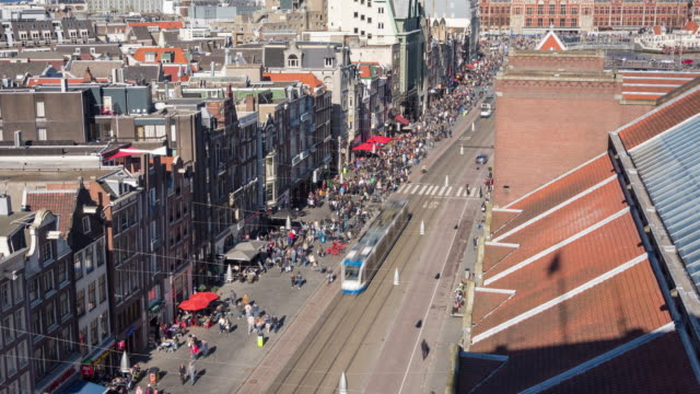 4k: amsterdam damrak aerial time lapse - subway train stock videos & royalty-free footage
