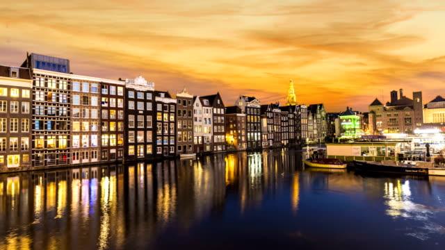 Amsterdam Damrak by sunset, time lapse