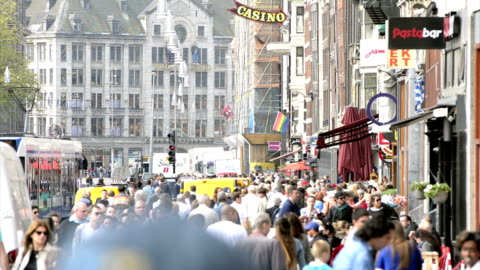 amsterdam damrak dam square - large group of people stock videos & royalty-free footage