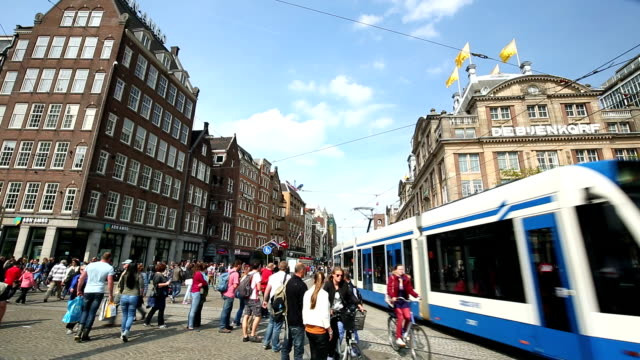 amsterdam damrak dam square - stoplight stock videos and b-roll footage