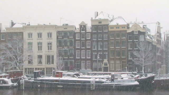 Amsterdam houses in snowy weather the Netherlands