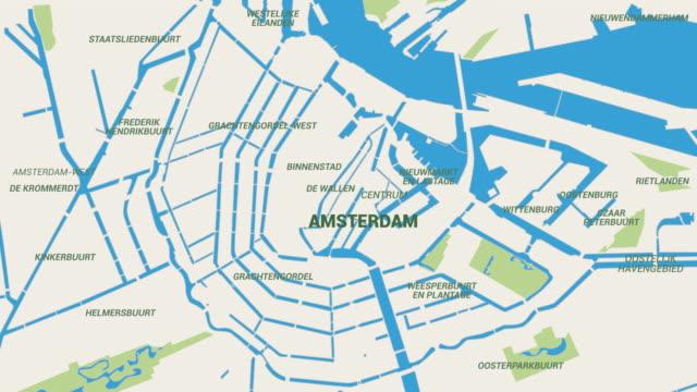 Amsterdam kaart animatie 4K