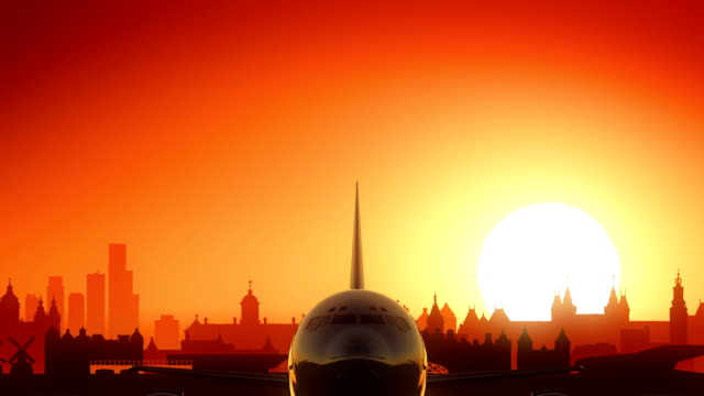 Amsterdam Netherlands Airplane Take Off Skyline Golden Background