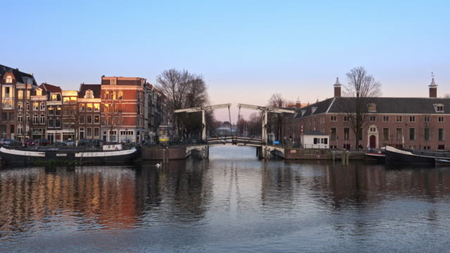 amsterdam, netherlands. houseboats, dancing houses - twilight stock videos & royalty-free footage