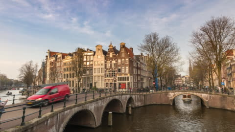 amsterdam netherlands time lapse 4k, city skyline timelapse at canal waterfront - canal stock videos & royalty-free footage