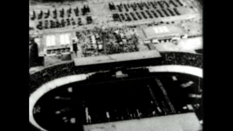 stockvideo's en b-roll-footage met amsterdam olympics opening ceremony featuring the united states olympic team and a nice aerial shot of the stadium. - 1928