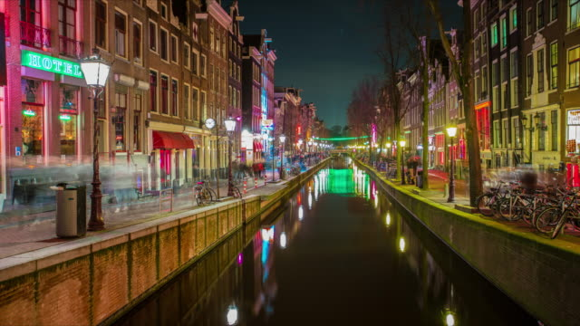 Amsterdam Red light distric Time Lapse at night from canal