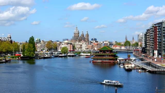 vidéos et rushes de skyline de amsterdam, time-lapse - amsterdam
