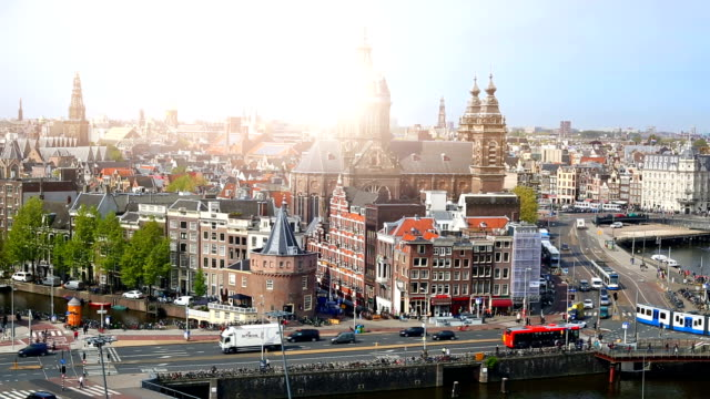amsterdam skyline, time lapse - netherlands stock videos & royalty-free footage