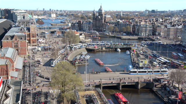 amsterdam station square aerial view - square stock videos and b-roll footage