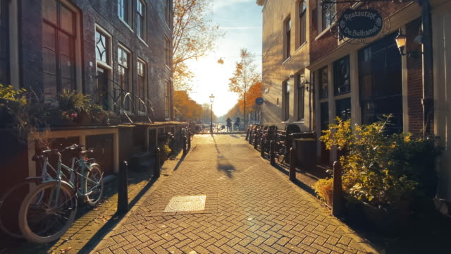 amsterdam street in golden sun - kopfsteinpflaster stock-videos und b-roll-filmmaterial