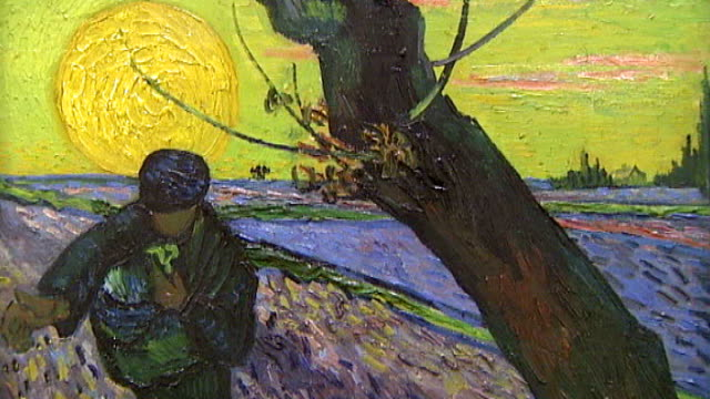 amsterdam: van gogh museum: int close ups of self-portraits, sketches and letters by vincent van gogh speeded-up shot of people looking at painting... - iris plant stock videos & royalty-free footage