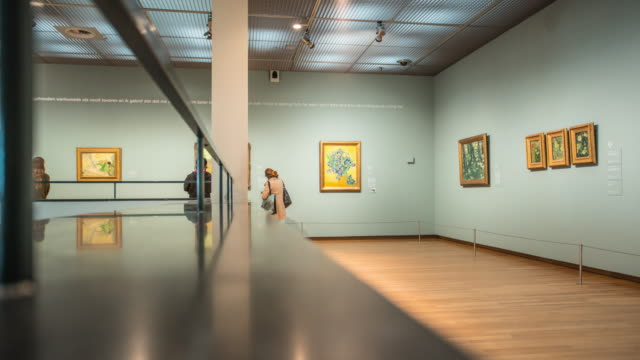 amsterdam van gogh museum time lapse - museum stock videos & royalty-free footage