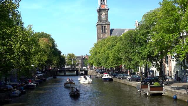 amsterdam westerkerk - downtown stock videos & royalty-free footage