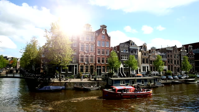 amsterdam with canal - amsterdam stock videos & royalty-free footage