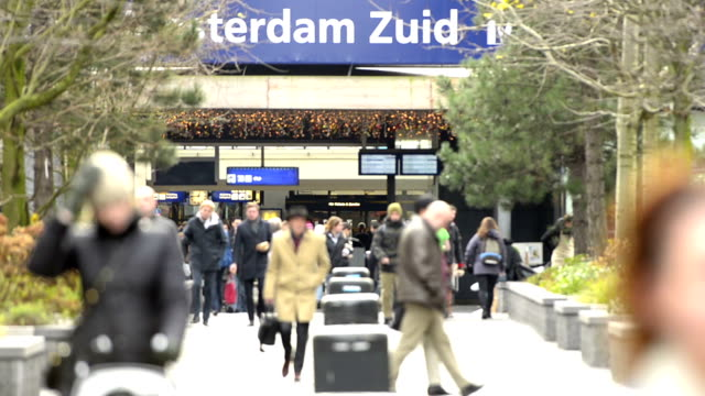 amsterdam zuid train station - amsterdam stock videos & royalty-free footage
