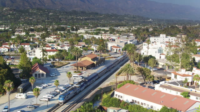 Amtrak Pacific Surfliner in Santa Barbara - Drone Shot