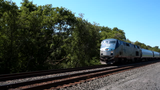 vídeos de stock, filmes e b-roll de amtrak passenger train - locomotive