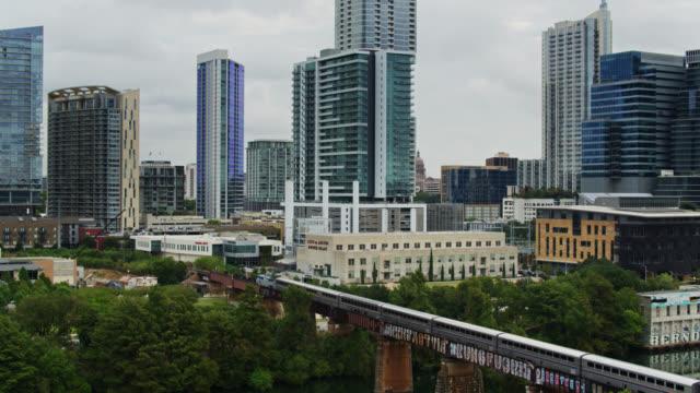 amtrak train in austin, texas - drone shot - texas stock videos & royalty-free footage