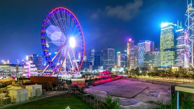 遊園地は楽しい観覧時間の経過で夜市の公園 - 遊園地点の映像素材/bロール
