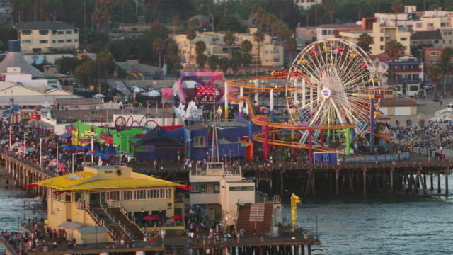 aerial amusement park on the santa monica pier in california, usa - santa monica pier stock videos & royalty-free footage