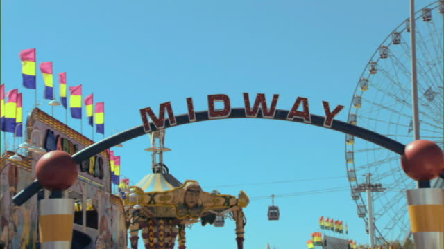 MS, ZI, CU, Amusement park rides and 'Midway' sign, Dallas, Texas, USA