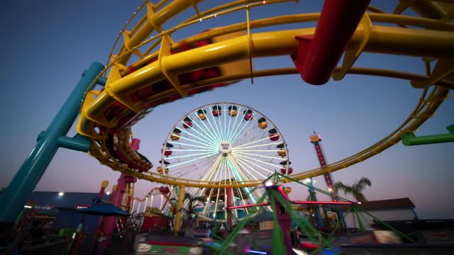 amusement park rides - santa monica pier stock videos & royalty-free footage