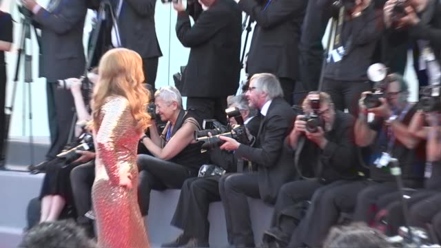 Amy Adams and her husband Darren Le Gallo kiss on the red carpet for the Premiere of Nocturnal Animals by Tom Ford at the Venice Biennale Film...