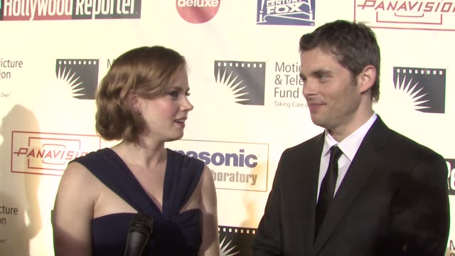 amy adams james marsden on what the stage brings out in them being a part of the evening at the 'a fine romance' to benefit the motion picture... - motion picture & television fund stock videos & royalty-free footage