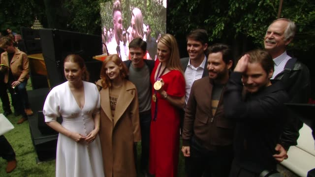 "amy adams, jessica chastain, topher grace, missy franklin, édgar ramírez and daniel brühlat the the 6th annual ""gold meets golden"" brunch hosted by... - topher grace stock videos & royalty-free footage"