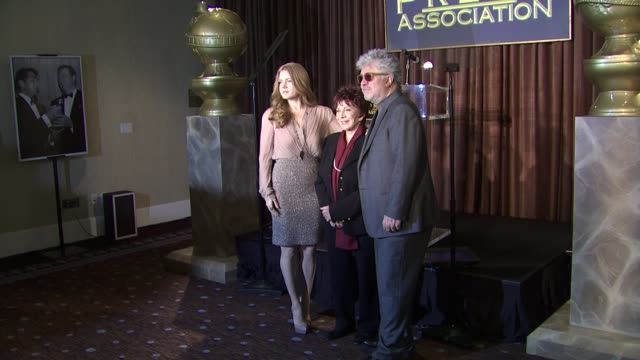 amy adams pedro almodovar and dr aida takla o'reilly at the hollywood foreign press association's cecil b demille award recipient announcement at... - cecil b. demille stock videos & royalty-free footage
