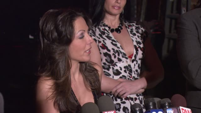 amy fisher on acknowledging and being comfortable with the sex tape at the amy fisher and lou bellara host press conference for 'amy fisher caught on... - amy fisher caught on tape stock videos and b-roll footage