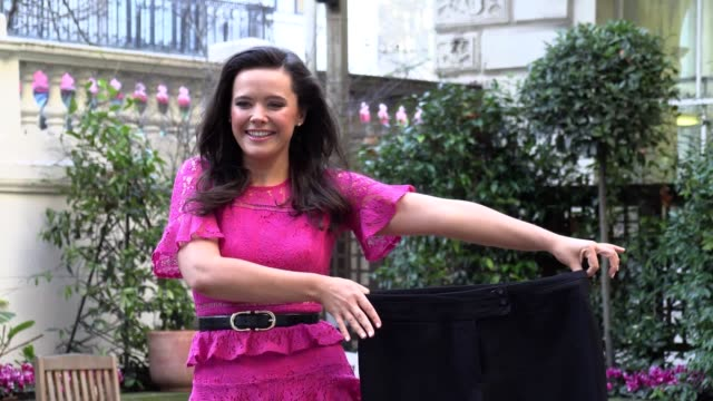 amy hodgson celebrates her award at a photocall at the langham hotel, london, after being named slimming world's miss slinky 2020. the teacher from... - dieting stock videos & royalty-free footage
