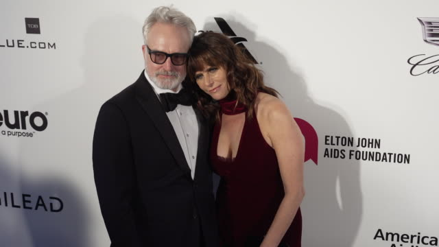 amy landecker and bradley whitford at the 27th annual elton john aids foundation academy awards viewing party sponsored by imdb and neuro drinks on... - bradley whitford stock videos & royalty-free footage