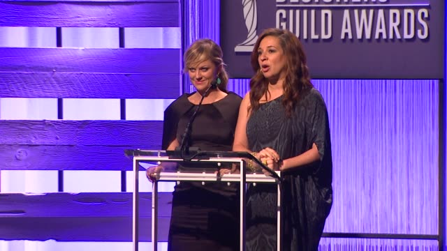 speech amy poehler and maya rudolph at the 15th annual costume designers guild awards on 2/19/13 in los angeles ca - maya rudolph video stock e b–roll