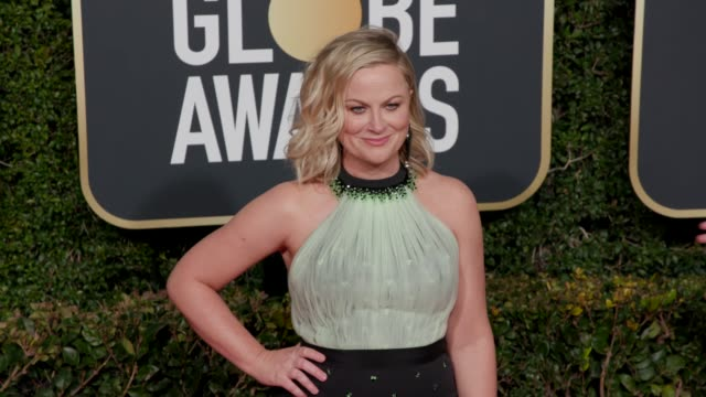 amy poehler at 76th annual golden globe awards - arrivals in los angeles, ca 1/6/19 - 4k footage - エイミー・ポーラー点の映像素材/bロール