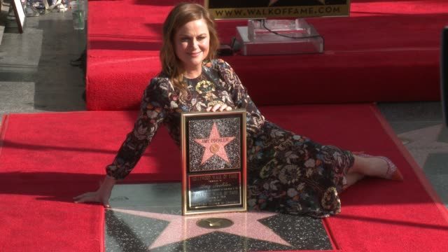 amy poehler at amy poehler honored with star on the hollywood walk of fame at hollywood walk of fame on december 03, 2015 in hollywood, california. - エイミー・ポーラー点の映像素材/bロール