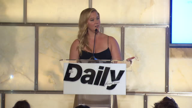 SPEECH Amy Schumer presenting an award at The Daily Front Row 6th Annual Fashion Media Awards at Park Hyatt New York on September 06 2018 in New York...